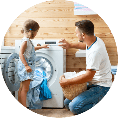 Kalaguard Preservative for Detergents, Fabric Softener, and Laundry Care - Man and Daughter Do Laundry Together