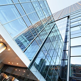 Office building with insulated glass windows